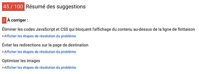 Outil Google d'analyse de rapidité de chargement de page PageSpeed Insights