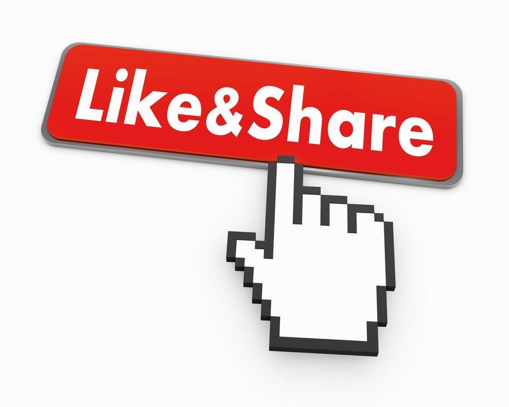 clic bouton aimer partager